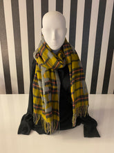 Load image into Gallery viewer, Checkered Mustard And Grey Queen Slogan Print Scarf