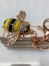 Load image into Gallery viewer, Silver and Gold Diamanté Bee Key Ring