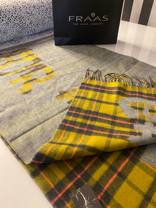 Checkered Mustard And Grey Queen Slogan Print Scarf