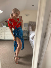 Load image into Gallery viewer, Blue And Red Midi Dress With Animal And Floral Prints