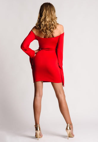 A Short Red Dress Off Shoulder Detail Split Sleeves