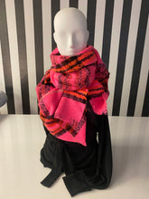 Load image into Gallery viewer, Bright Pink, Orange And Black Tartan Checkered Scarf