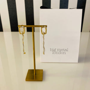 Gold Rectangle Drop Earrings