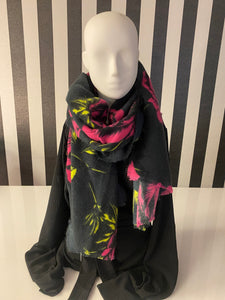 Pink, Black And Charcoal Floral Print Scarf