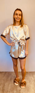 Silky Pearl And Nude Pyjama Short Set with Lace Trim