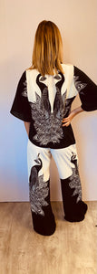 Statement Monochrome Peacock Print Pyjama Set