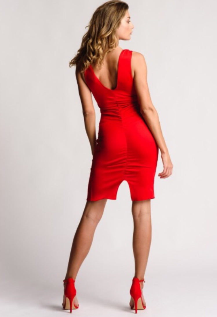 A Fitted Gathered Red Dress V Neck With Splits #LadyInRed
