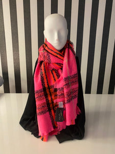 Bright Pink, Orange And Black Tartan Checkered Scarf