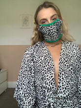 Load image into Gallery viewer, Green Face Mask With Black And Cream Animal Print