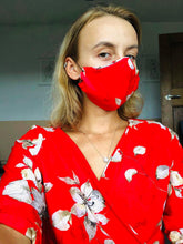 Load image into Gallery viewer, Red Floral Face Mask