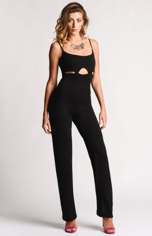 Black Stretchy Wide Leg Jumpsuit Bandeau Cut Out Top