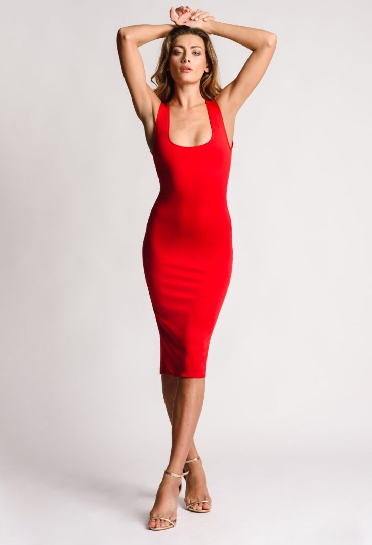 Fitted Red Dress Round Neck Center Back Zip Detail