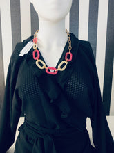 Load image into Gallery viewer, Statement Gold, Pink & White Chain Link Necklace