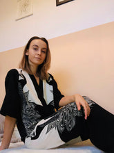 Load image into Gallery viewer, Statement Monochrome Peacock Print Pyjama Set