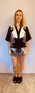 Statement Monochrome Peacock Print Pyjama Short Set