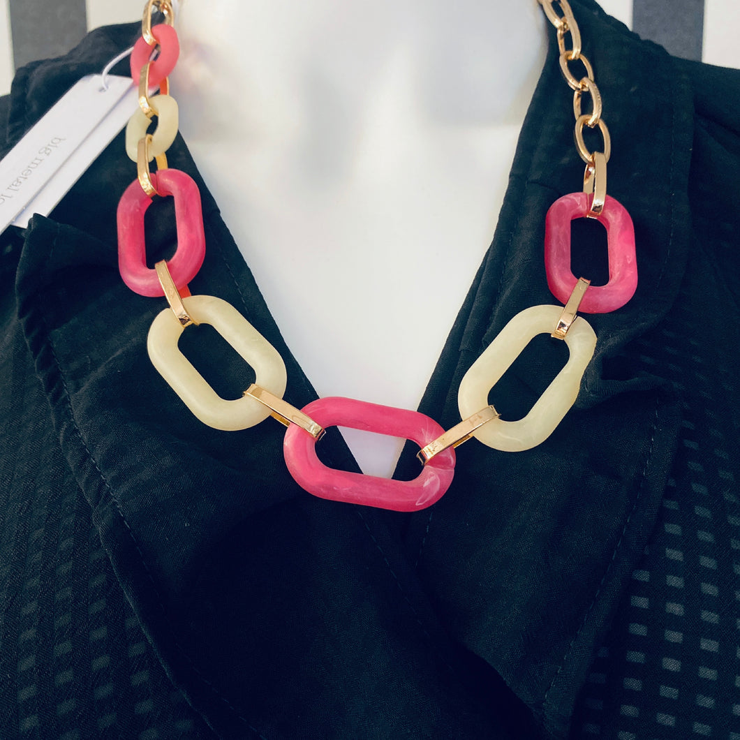 Statement Gold, Pink & White Chain Link Necklace