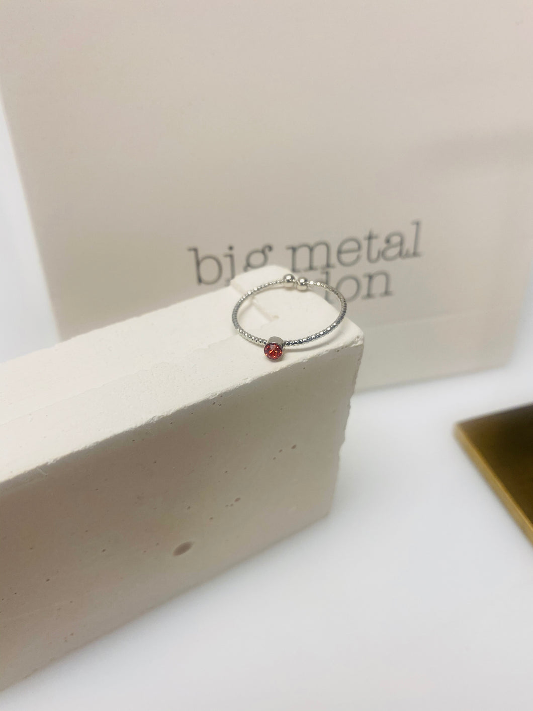 Silver Ring With A Ruby Red Stone