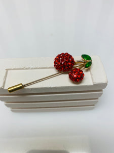 Red Cherry And Apple Diamanté Broach Set