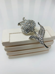 Silver Tulip Flower Diamanté Broach