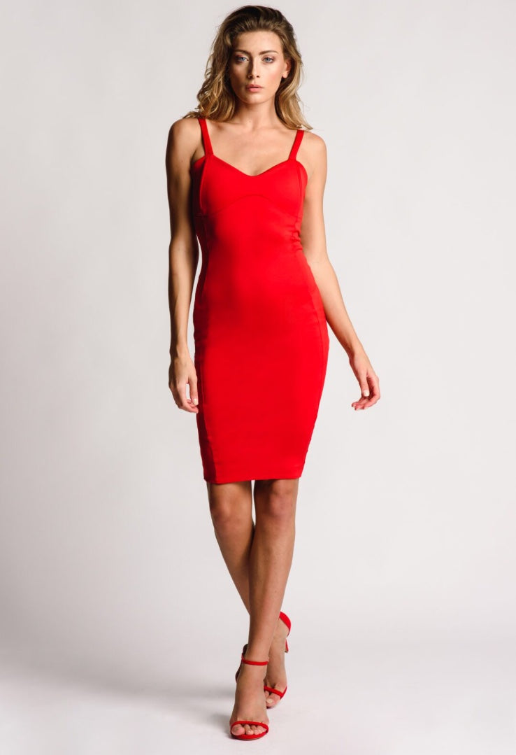 Knee Length Fitted Red Dress Sweetheart Neckline
