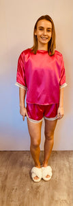 Silky Hot Pink Pyjama Short Set with Lace Trim