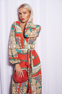 Red Scarf Print Maxi Wrap Dress with Balloon Sleeves