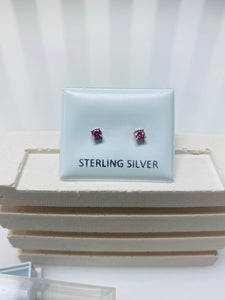 Sterling Silver Pink Diamanté Earring Studs
