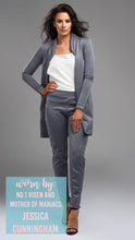 Load image into Gallery viewer, Jessica Cunningham Grey Trouser suit Slim Fit 3/4 Length Jacket