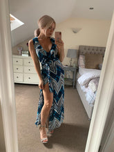 Load image into Gallery viewer, Sleeveless Maxi Wrap Summer Dress in Blue and White Aztec Print