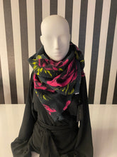 Load image into Gallery viewer, Pink, Black And Charcoal Floral Print Scarf