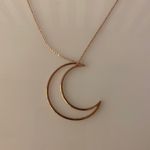 Rose Gold Moon Pendant Necklace