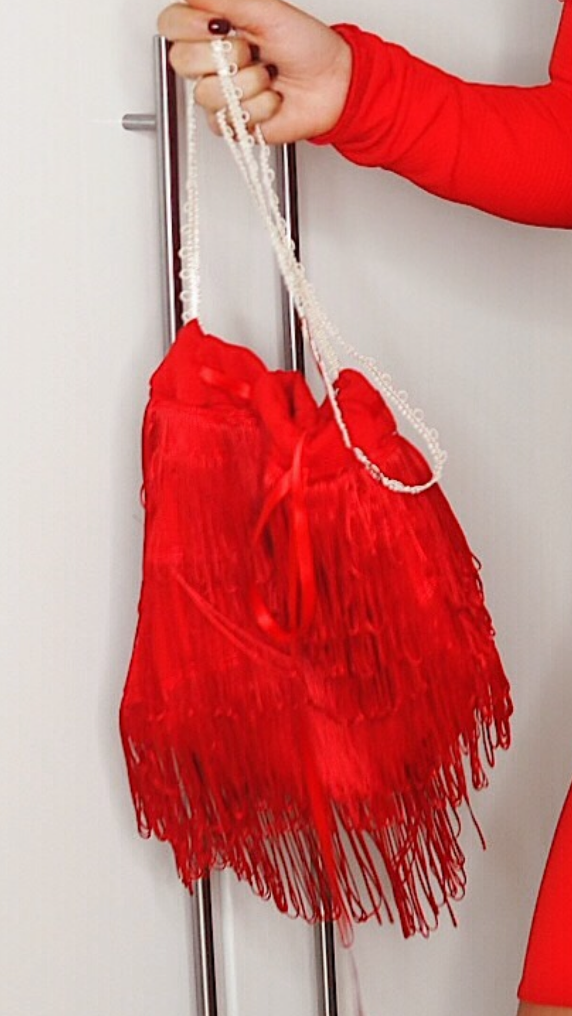 Red Pouch Bag Tassel Detail