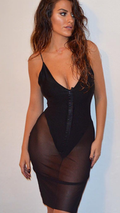 Black Body Stretchy Dress See-through Overlay #KVK