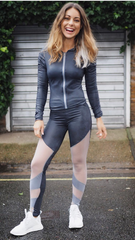 Woman's Sports wear Grey Leggings Strecth Jacket Mesh Cut Outs