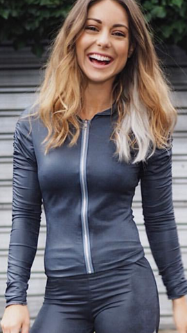 Grey Women's  Sports Jacket Stretchy Long Sleeves