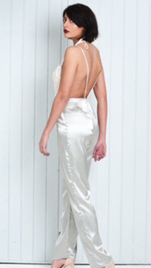 Silver and White Jumpsuit Backless with Lace Detail
