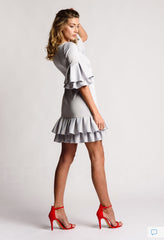 A Dove Grey Pleated Short Luxe Dress #sweetpleats
