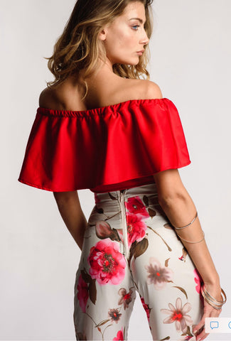 Red Crop Top Off The Shoulder With Frill