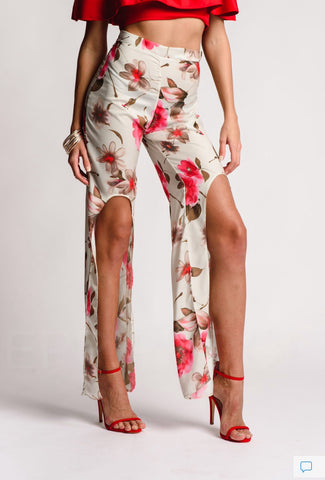 Flower Print Red Trousers Flared Leg Detailed Splits
