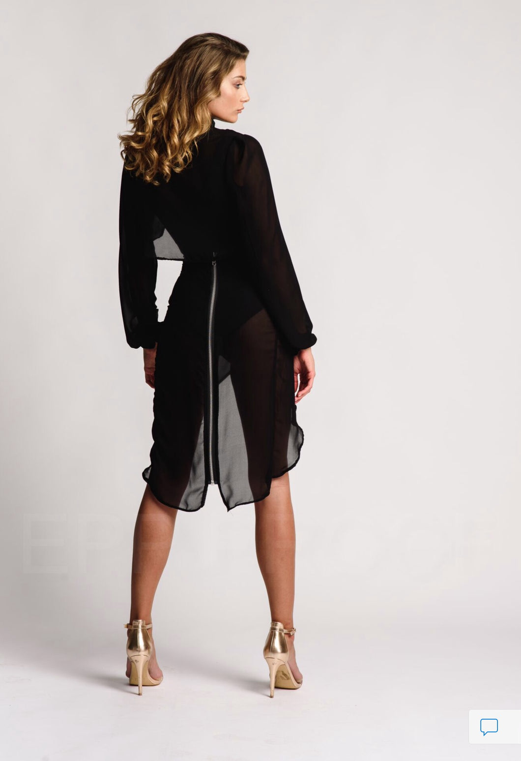 Black Sheer Twin Set Knee Length Skirt Black Body Crop Jacket