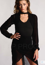 Load image into Gallery viewer, Black Sheer Twin Set Knee Length Skirt Black Body Crop Jacket