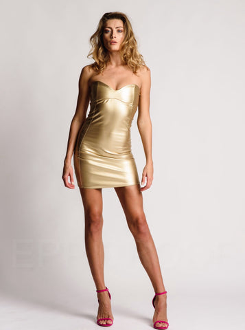 Metallic Gold Short Sweetheart Dress Bodycon Leather Look
