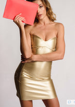 Load image into Gallery viewer, Metallic Gold Short Sweetheart Dress Bodycon Leather Look