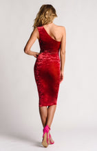 Load image into Gallery viewer, Red Crushed Velvet Dress Knee Length One Shoulder
