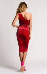 Red Crushed Velvet Dress Knee Length One Shoulder