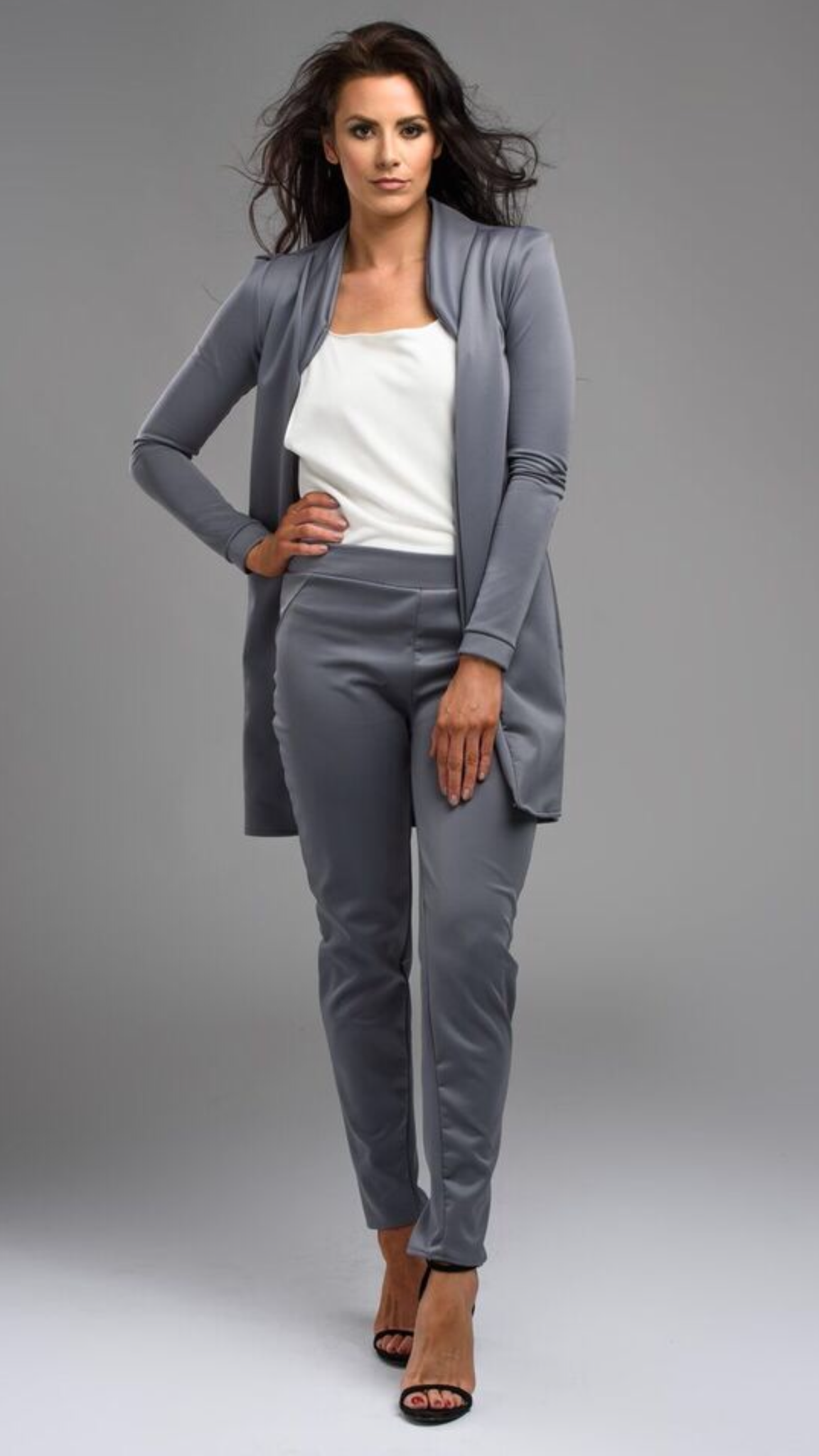 #Emily- Grey trouser suit , jacket and pant set. Worn by Jessica Cunningham Celebrity Big Brother and The Apprentice Tv Star.