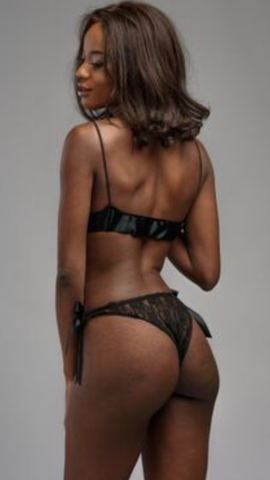 BiBi- Black Silk Lingerie Set. Underwear set made up of Bralette and Knickers with Ribbon detailing.
