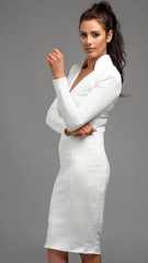 Jessica Cunningham Woman's Business Wear White Dress V Neck Knee Length