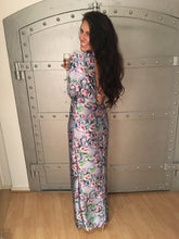 Load image into Gallery viewer, Jessica Cunningham Maxi Silk Evening Dress Floral Print V Neck Split