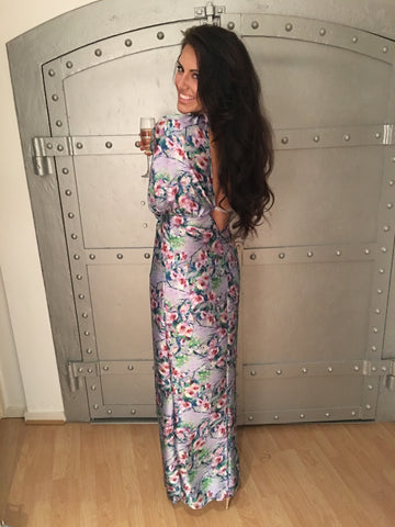 Jessica Cunningham Maxi Silk Evening Dress Floral Print V Neck Split